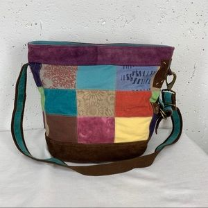 Lucky Brand Large Suede Canvas Crossbody Bag